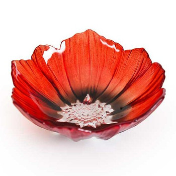 Small Red and Black Poppy Flower Crystal Bowl by Mats Jonasson