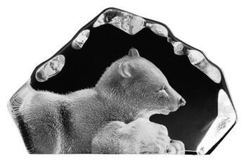Mini Polar Bear Etched Crystal Sculpture by Mats Jonasson