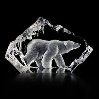 Polar Bear Walking Etched Crystal Sculpture by Mats Jonasson