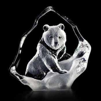 Mini Grizzly Bear Etched Crystal Sculpture by Mats Jonasson