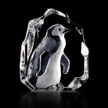 Mini Penguin Etched Crystal Sculpture by Mats Jonasson
