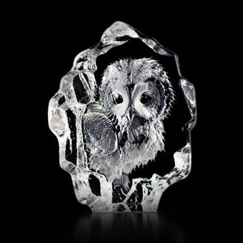 Mini Baby Owl Etched Crystal Sculpture by Mats Jonasson