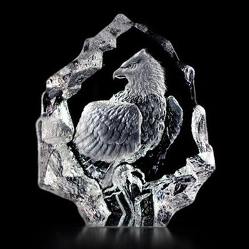 Bald Eagle Hand Etched Crystal Sculpture by Mats Jonasson