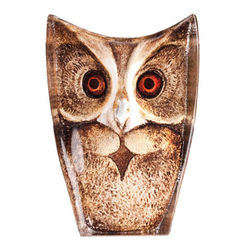 Colorful Owl Etched Crystal Sculpture by Mats Jonasson
