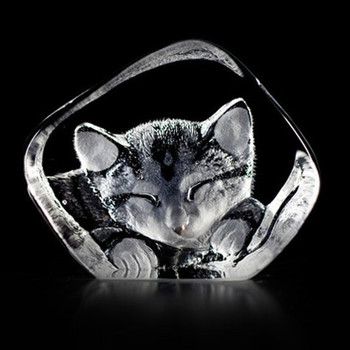Cat Hand Etched Crystal Sculpture by Mats Jonasson