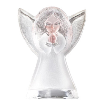 Small Angel Etched Crystal Sculpture by Mats Jonasson