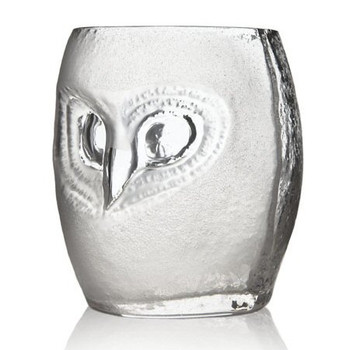 Sm Strix Owl Clear Mouth Blown Crystal Tumbler Glass by Mats Jonasson