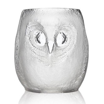 Lg Strix Owl Clear Mouth Blown Crystal Tumbler Glass by Mats Jonasson