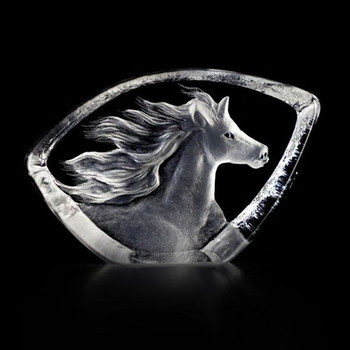 Mini Horse Etched Crystal Sculpture by Mats Jonasson