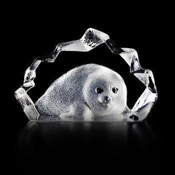 Mini Baby Seal Etched Crystal Sculpture by Mats Jonasson