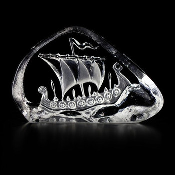 Mini Viking Ship Clear Etched Crystal Sculpture by Mats Jonasson