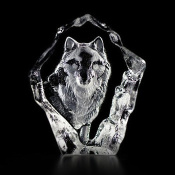 Mini Wolf Etched Crystal Sculpture by Mats Jonasson