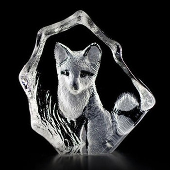 Baby Fox Etched Crystal Sculpture by Mats Jonasson