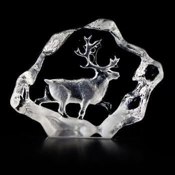 Mini Reindeer Etched Crystal Sculpture by Mats Jonasson