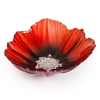 Medium Red and Black Poppy Flower Crystal Bowl by Mats Jonasson