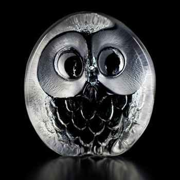 Owl Hand Etched Crystal Sculpture by Mats Jonasson
