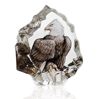 Mini Bald Eagle Etched Crystal Sculpture by Mats Jonasson