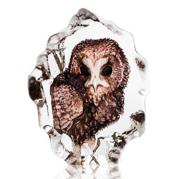 Mini Owl Etched Crystal Sculpture by Mats Jonasson