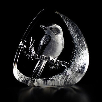 Flycatcher Bird Etched Crystal Sculpture by Mats Jonasson