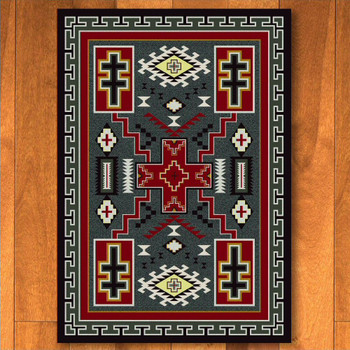 3' x 4' Double Cross Gray Southwest Rectangle Scatter Rug
