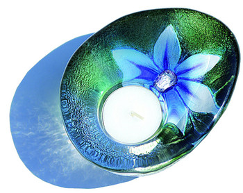 Flower Blue Delight Crystal Candle Holder by Mats Jonasson