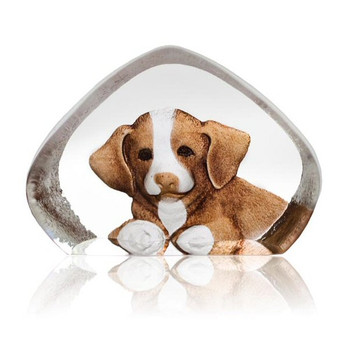 Mini Dog in Color Etched Crystal Sculpture by Mats Jonasson