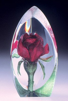 Mini Rose Red Flower Etched Crystal Sculpture by Mats Jonasson