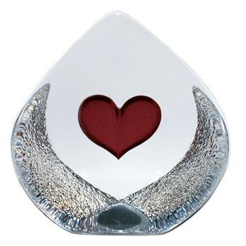 Medium Heart Etched Crystal Sculpture by Mats Jonasson