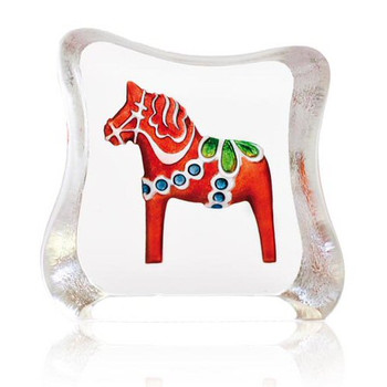 Miniature Dalecarlia Horse Red Etched Sculpture by Mats Jonasson