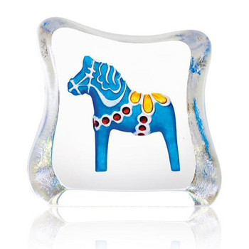 Miniature Dalecarlia Horse Blue Etched Sculpture by Mats Jonasson