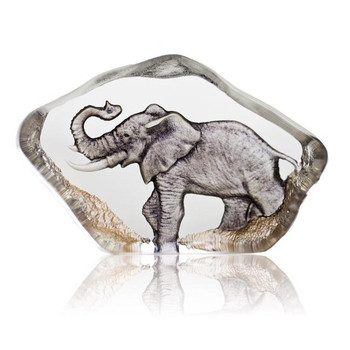 Mini Elephant Hand Etched Crystal Sculpture by Mats Jonasson