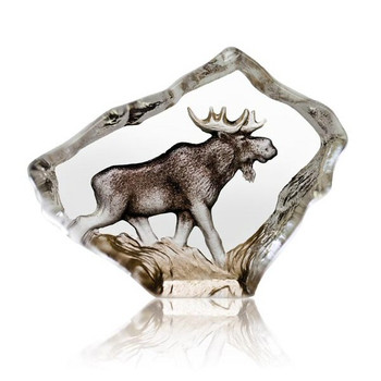 Mini Moose in Color Hand Etched Crystal Sculpture by Mats Jonasson