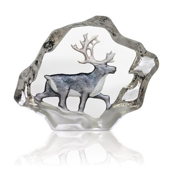 Small Reindeer in Color Etched Crystal Sculpture by Mats Jonasson