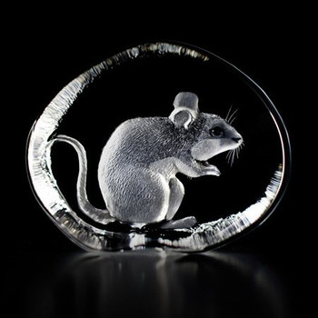 Sitting Mouse Etched Crystal Sculpture by Mats Jonasson