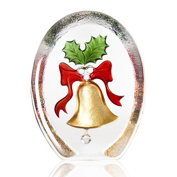 Gold Red and Green Christmas Bell & Mistletoe Crystal by Mats Jonasson