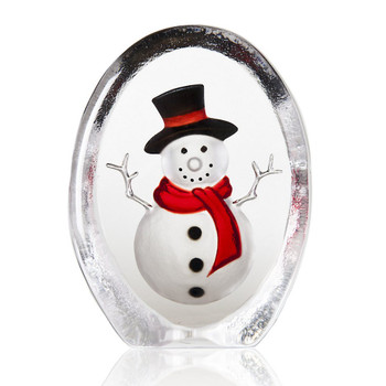 White Black & Red Snowman Painted Crystal Sculpture by Mats Jonasson