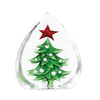 Christmas Tree Etched Crystal Sculpture by Mats Jonasson
