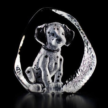Dalmatian Puppy Etched Crystal Sculpture by Mats Jonasson