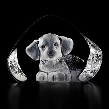 Harrier Puppy Dog Etched Crystal Sculpture by Mats Jonasson
