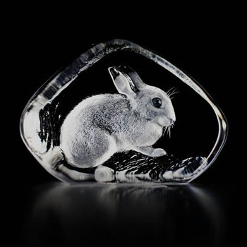 Rabbit Etched Crystal Sculpture by Mats Jonasson