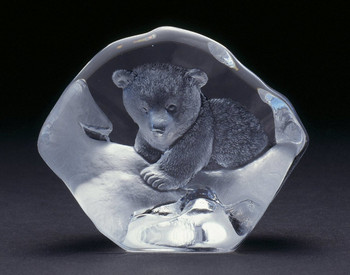 Baby Polar Bear Etched Crystal Sculpture by Mats Jonasson