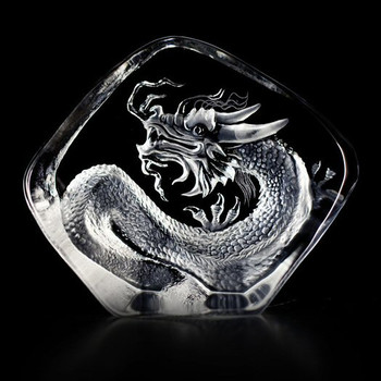 Small Dragon Etched Crystal Sculpture by Mats Jonasson