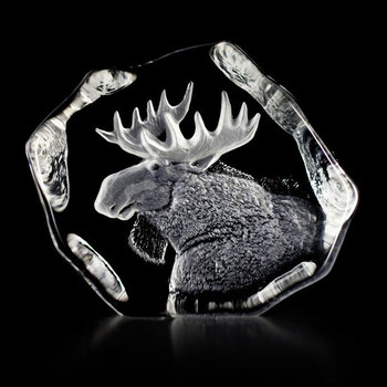 Alert Moose Etched Crystal Sculpture by Mats Jonasson