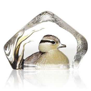 Yellow and Brown Duckling Painted Crystal Sculpture by Mats Jonasson