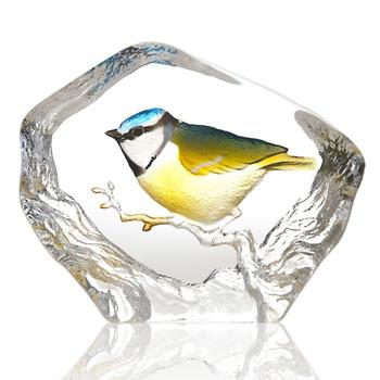 Yellow Blue & Green Blue-Tit Bird Crystal Sculpture by Mats Jonasson