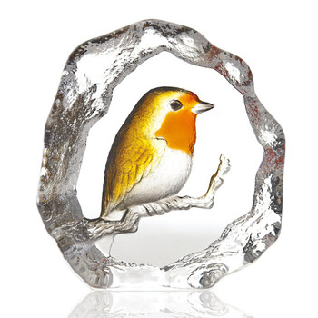 Yellow Red and Brown Robin Bird Crystal Sculpture by Mats Jonasson