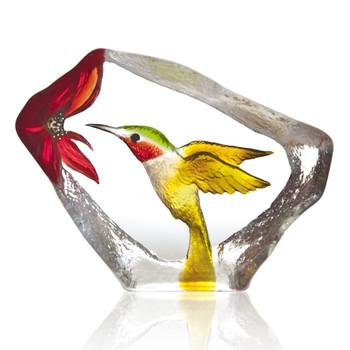 Yellow Red and Green Hummingbird Crystal Sculpture by Mats Jonasson