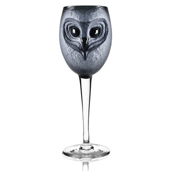 Strix Owl Black and Clear Crystal White Wine Glass by Mats Jonasson