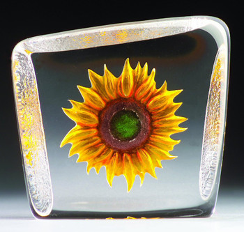 Sunflower Etched Crystal Sculpture by Mats Jonasson