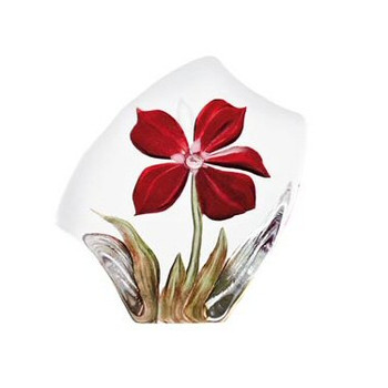 Red Obia Flower Etched Crystal Sculpture by Mats Jonasson